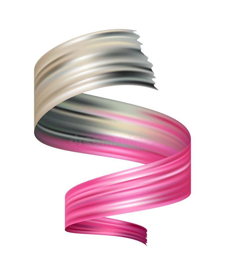 Elemento del diseño de la pincelada del color aislado en blanco ejemplo realista del vector stock de ilustración