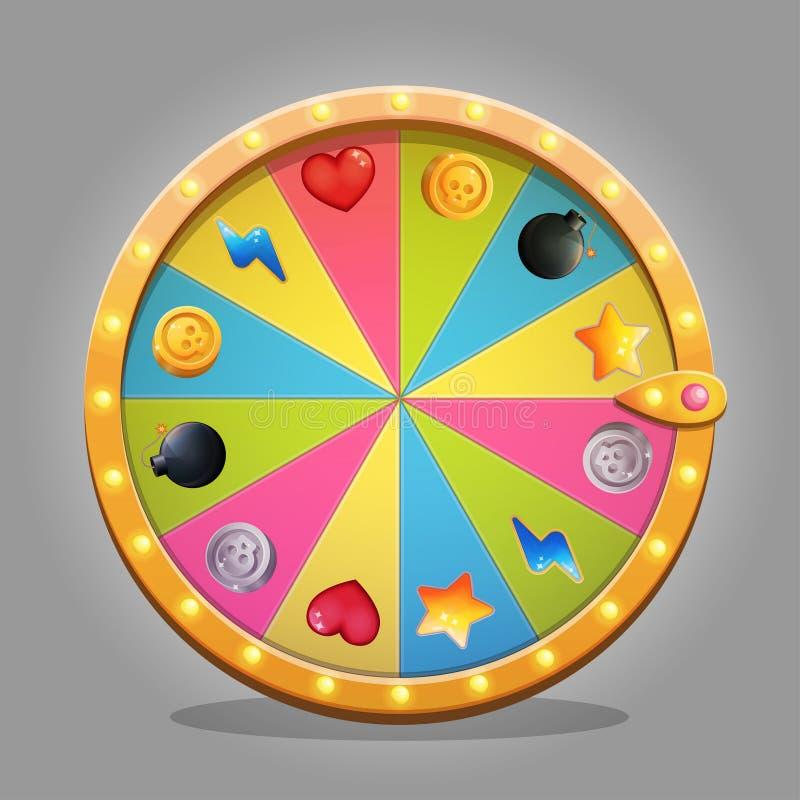 Elemento del diseño de la rueda de la fortuna stock de ilustración