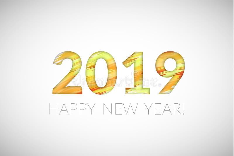 Elemento del diseño de la tarjeta de felicitación del Año Nuevo 2019 Ilustración del vector ilustración del vector