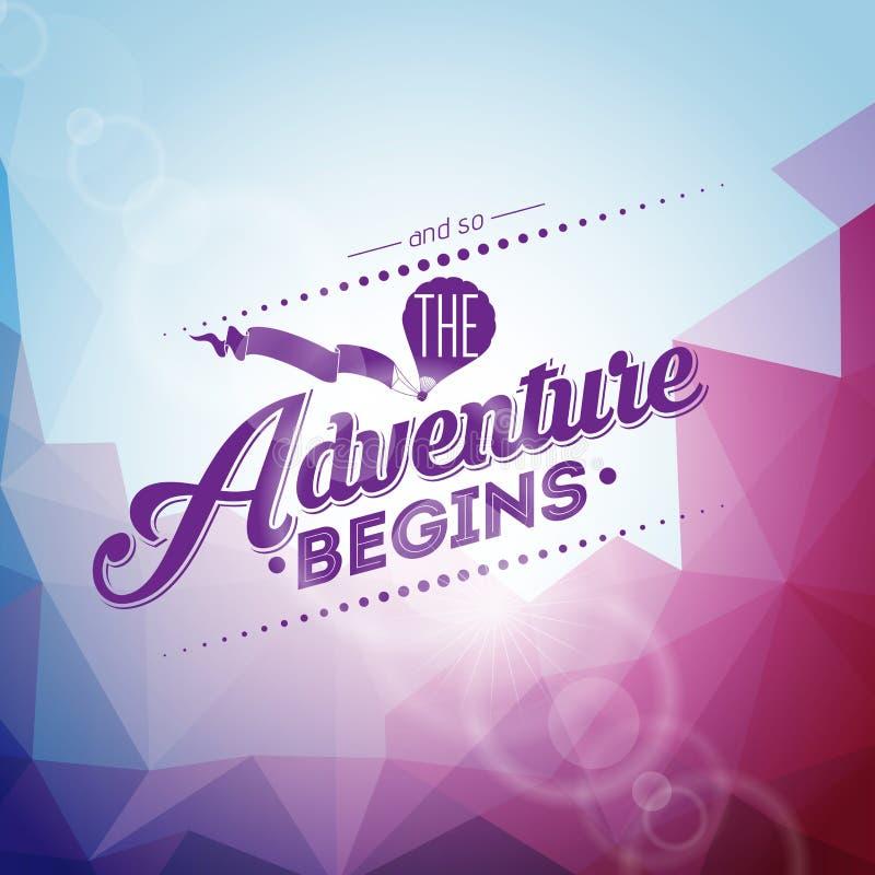 Elemento del diseño de la tipografía del vector para las tarjetas y los carteles de felicitación Y la aventura comienza tan cita  ilustración del vector