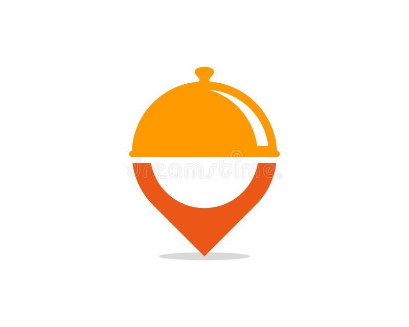 Elemento del diseño de Pin Location Food Icon Logo ilustración del vector