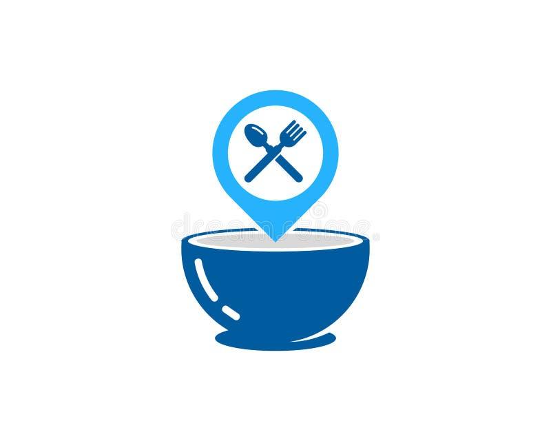 Elemento del diseño de Pin Location Food Icon Logo stock de ilustración