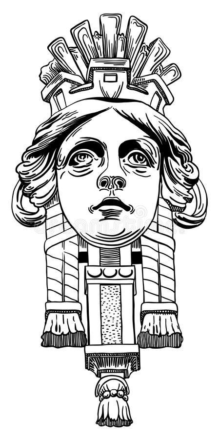Elemento del diseño del dibujo de la tinta de Lviv (Ucrania) ilustración del vector