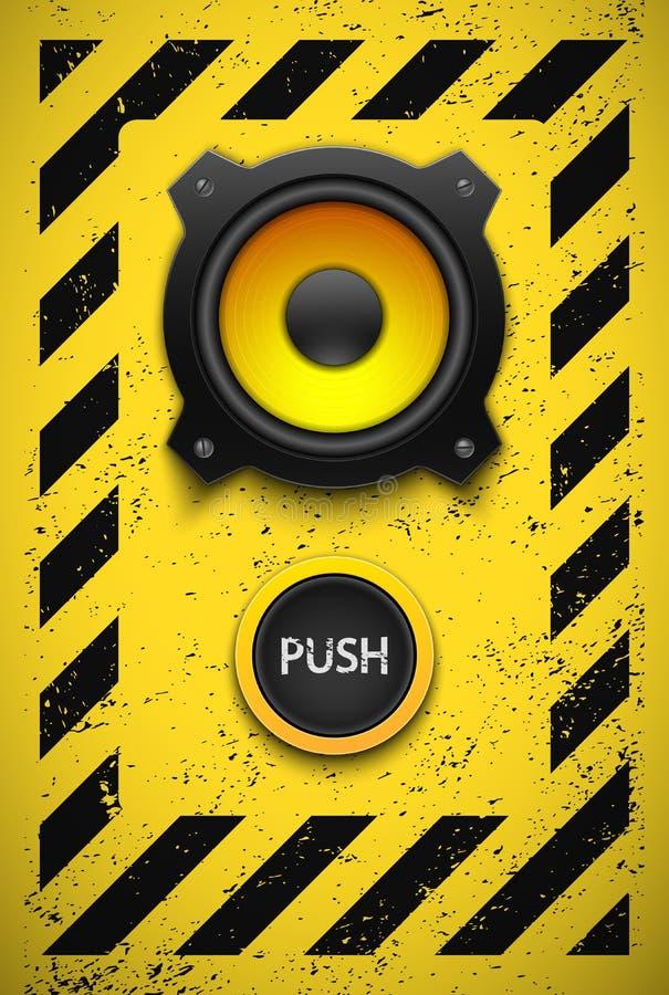 Elemento del diseño del partido con el altavoz y el botón ilustración del vector