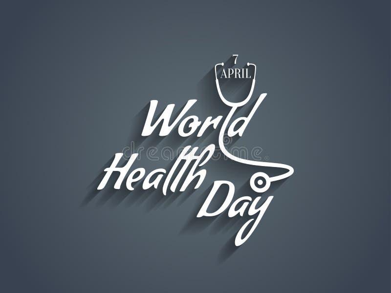Elemento del diseño del texto del día de salud de mundo. ilustración del vector