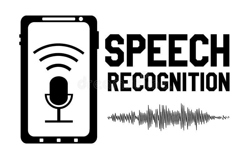 Elemento del diseño del logotipo del reconocimiento de voz ilustración del vector