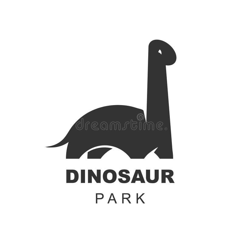 Elemento del diseño del logotipo del vector del dinosaurio del Brachiosaurus Mundo jur?sico del parque Los dinosaurios del Diplod ilustración del vector