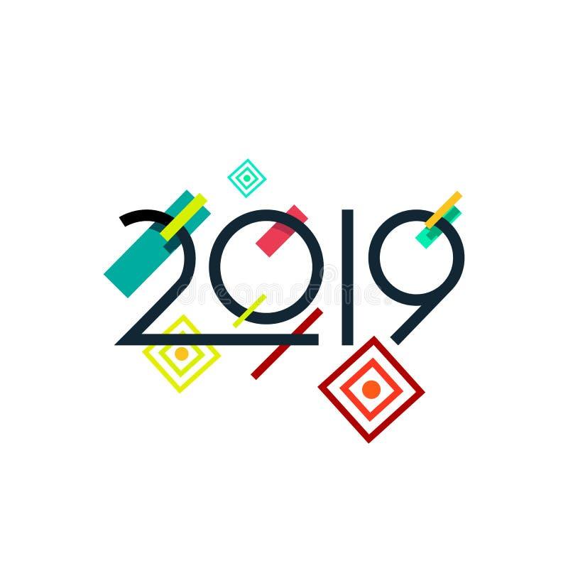 Elemento del diseño del vector del Año Nuevo 2019 en el estilo futurista de moda de Memphis ilustración del vector