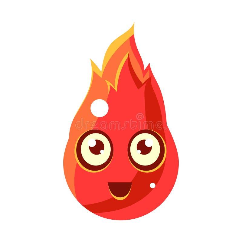 Elemento del fuoco rosso nel carattere fantastico sveglio a forma di FlamesEgg con la grande icona di Emoji di vettore degli occh illustrazione vettoriale