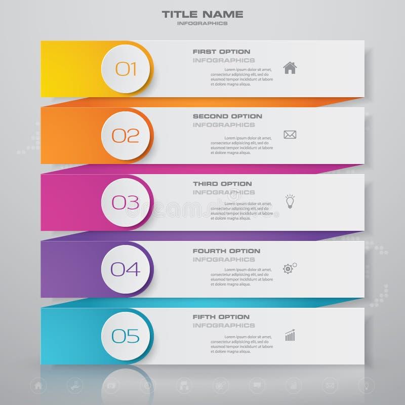 elemento del infographics de la carta de proceso de 5 pasos stock de ilustración