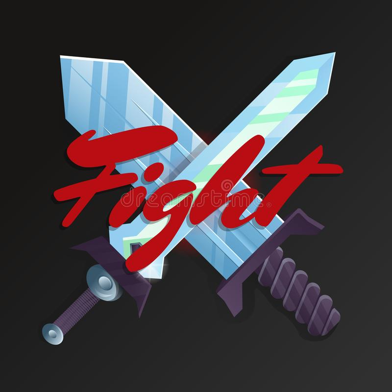 Elemento del juego de la lucha con las espadas cruzadas stock de ilustración