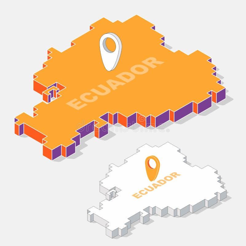 Elemento del mapa de Ecuador con la forma isométrica 3D aislado en fondo ilustración del vector