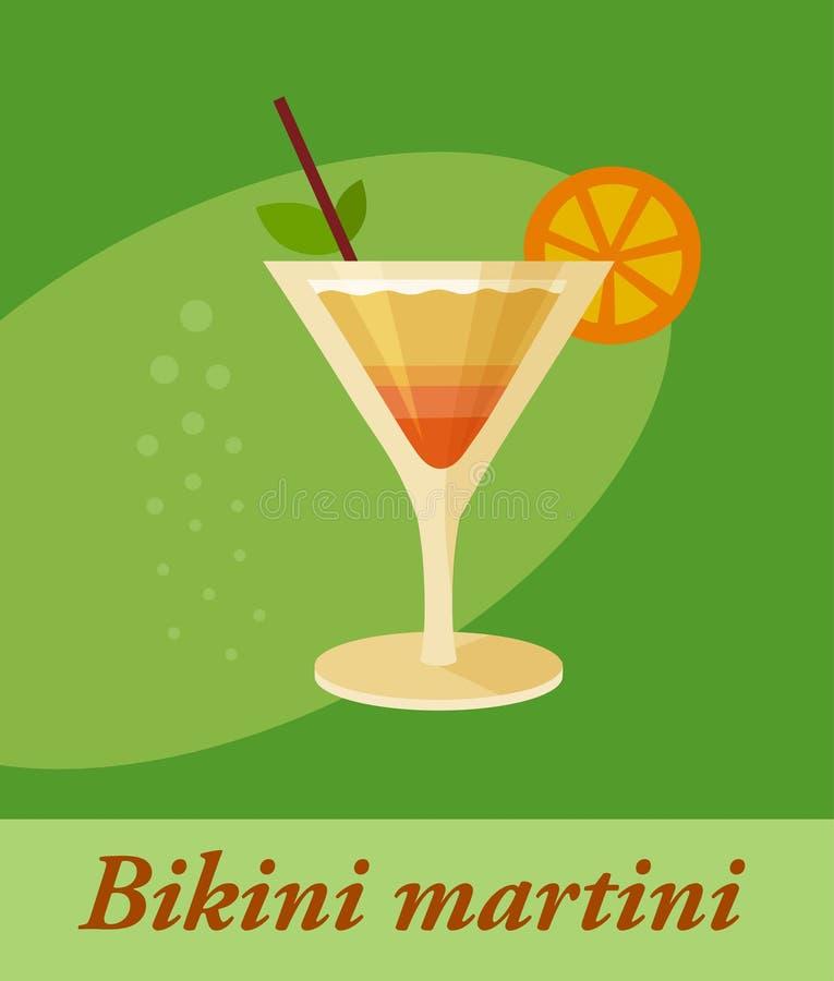 Elemento del menú del cóctel de martini del bikini o cualquier clase de diseño ilustración del vector