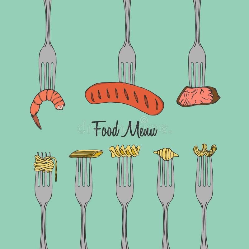 Elemento del menu del ristorante sulla forcella royalty illustrazione gratis