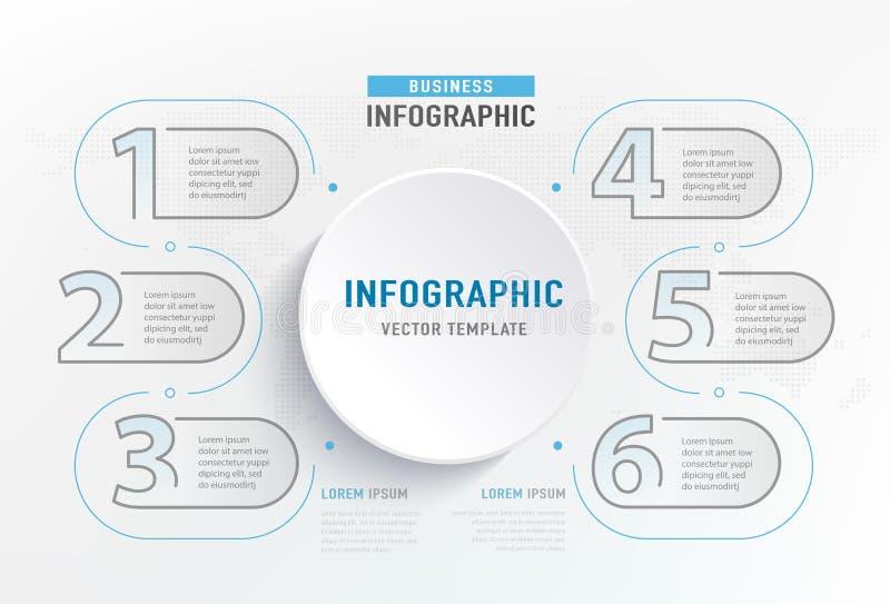 Elemento del paso de Infograph 6 Diagrama de carta gráfico del círculo, diseño del gráfico de negocio Ilustración del vector libre illustration