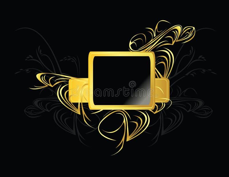 Elemento del quadrato nero dell'oro illustrazione di stock