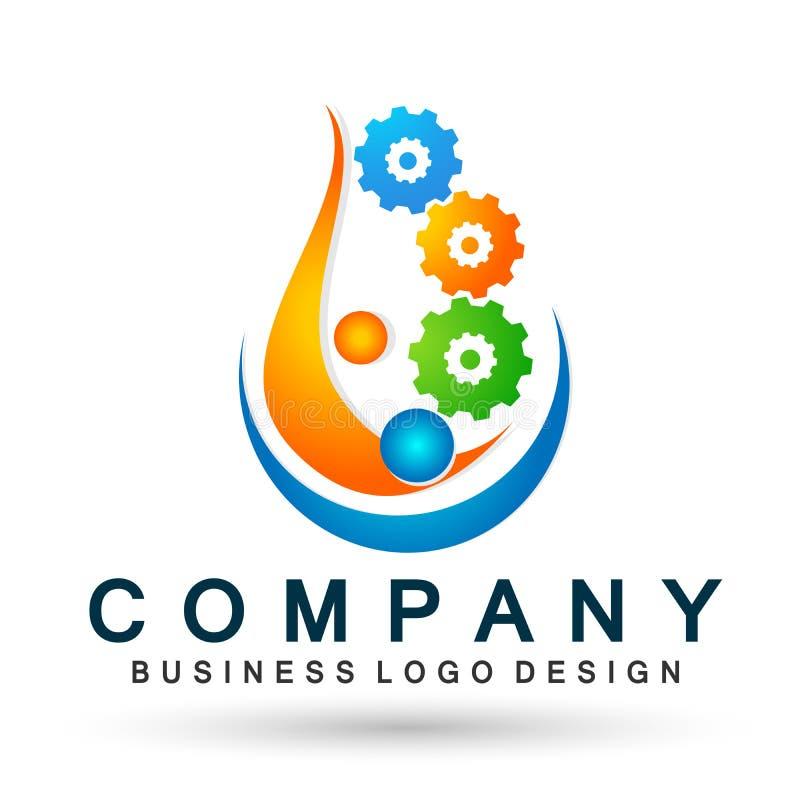Elemento del vector del icono del logotipo del engranaje del trabajo del equipo de la gente del mundo del globo en el fondo blanc stock de ilustración