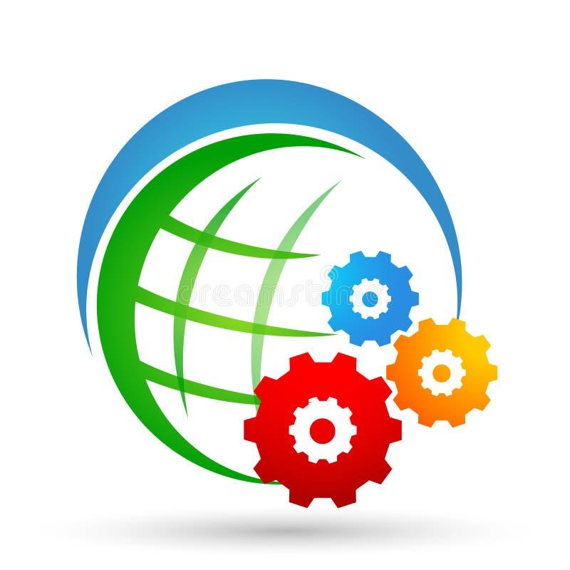 Elemento del vector del icono del logotipo del sol del engranaje del mundo del globo en el fondo blanco libre illustration