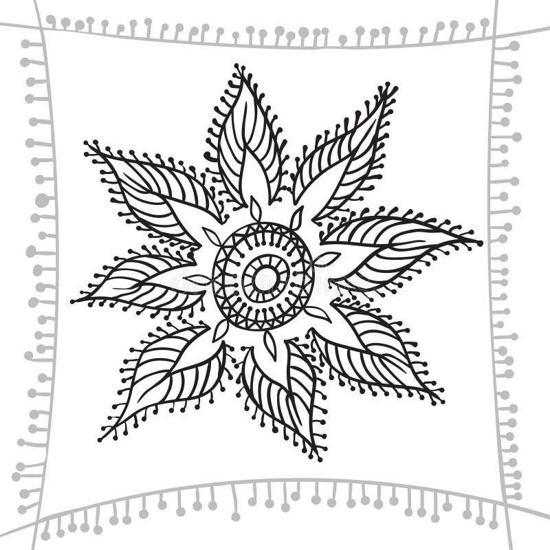 Elemento del zentangle del dibujo de la mano con el marco decorativo Mandala de la flor libre illustration