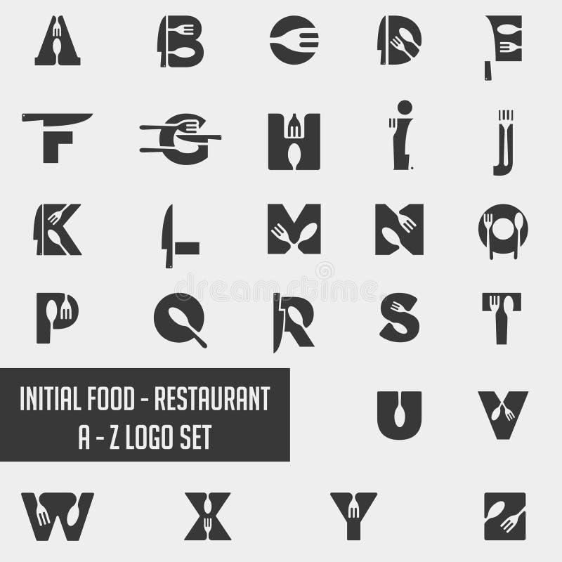 elemento dell'icona di vettore di progettazione della raccolta di logo del cuoco unico dell'alimento di alfabeto fotografia stock libera da diritti
