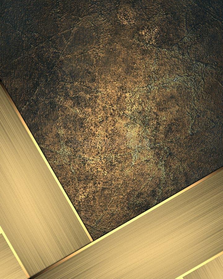Elemento della targhetta dell'oro per progettazione Mascherina per il disegno copi lo spazio per l'opuscolo dell'annuncio o l'inv illustrazione di stock