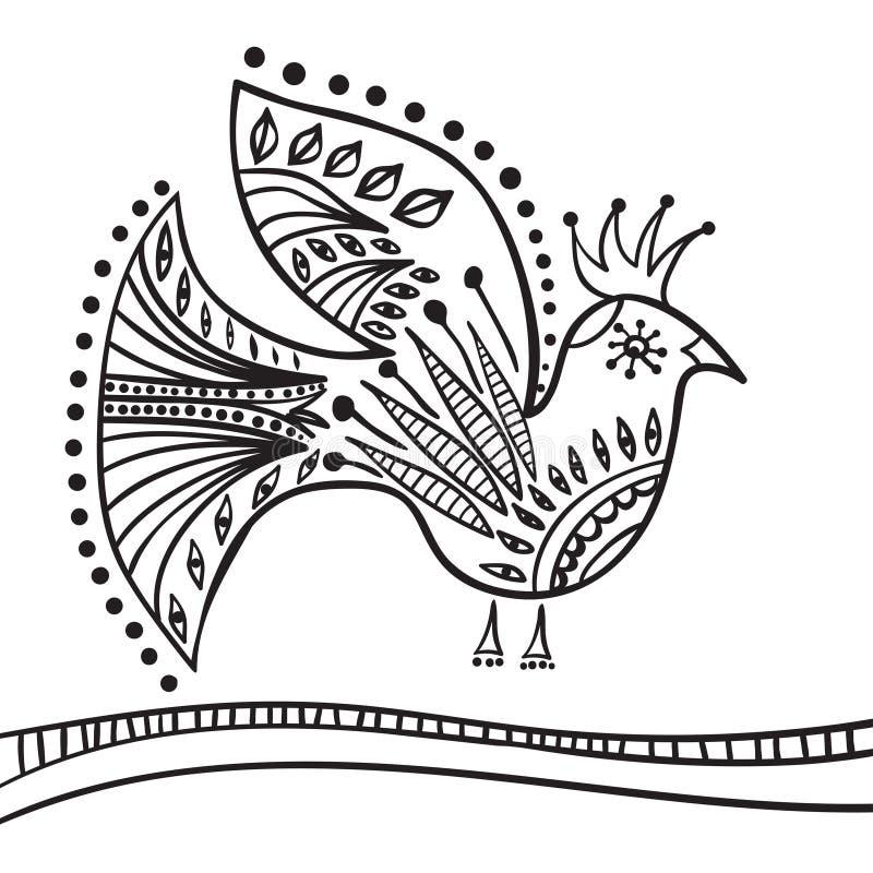 Elemento dello zentangle del disegno della mano Uccello decorativo e astratto illustrazione vettoriale
