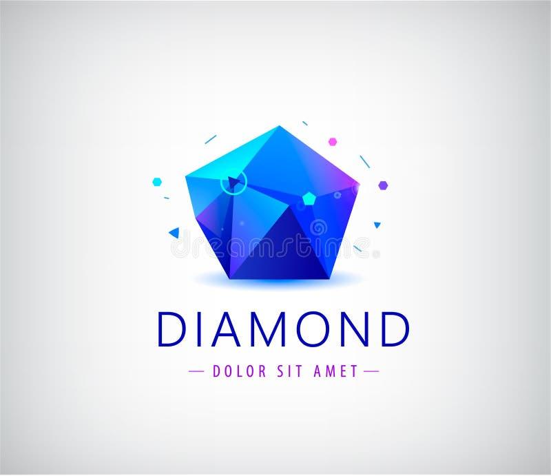 Elemento di cristallo di logo di forma della gemma di sfaccettatura piana d'avanguardia di progettazione royalty illustrazione gratis