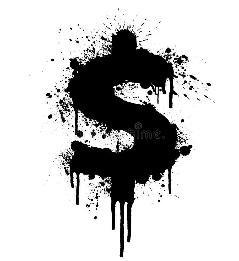 Elemento di disegno dello splatter del dollaro royalty illustrazione gratis