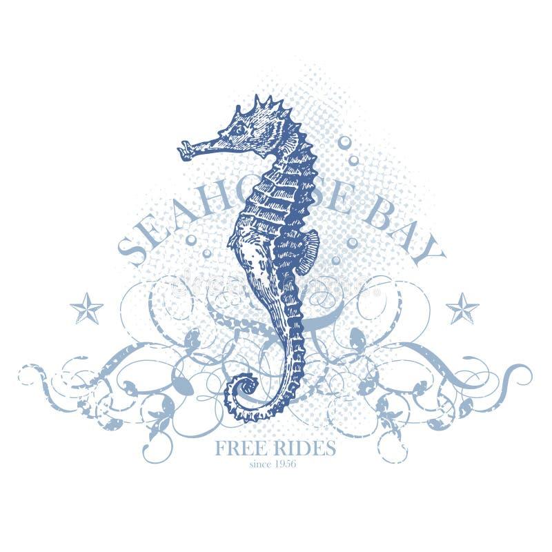 Elemento di disegno di estate del Seahorse illustrazione di stock