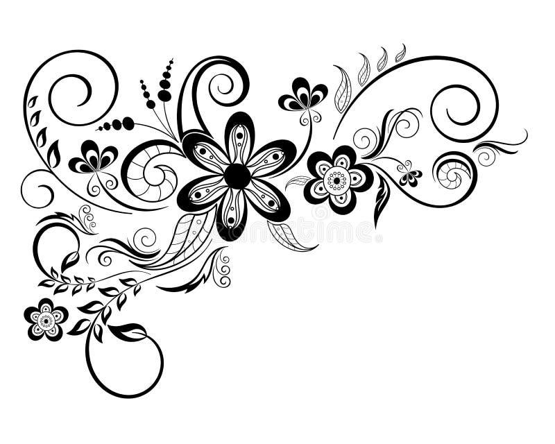 Elemento di disegno floreale con i turbinii illustrazione di stock