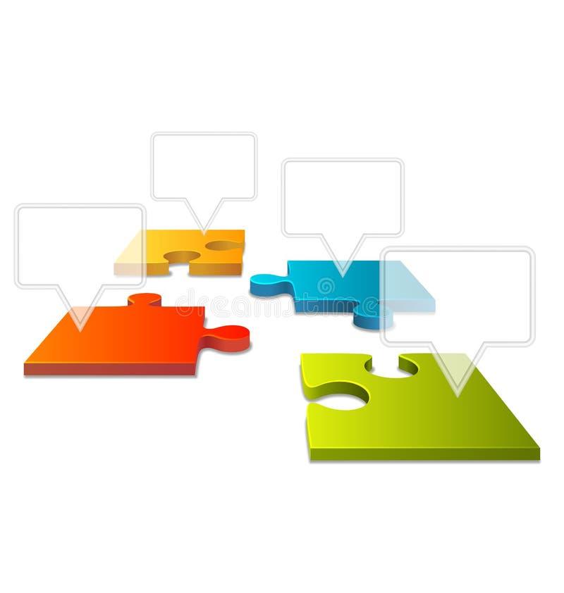 Elemento di Infographic di prospettiva del puzzle di puzzle su bianco illustrazione di stock