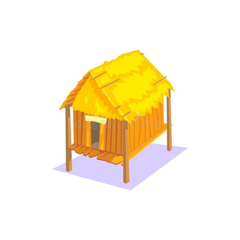 Elemento di legno elevato del paesaggio del villaggio della giungla della Camera illustrazione di stock