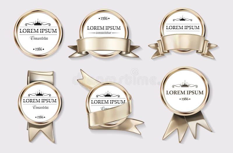 Elemento di logo con la corona, emblema, monogramma araldico nello stile d'annata royalty illustrazione gratis