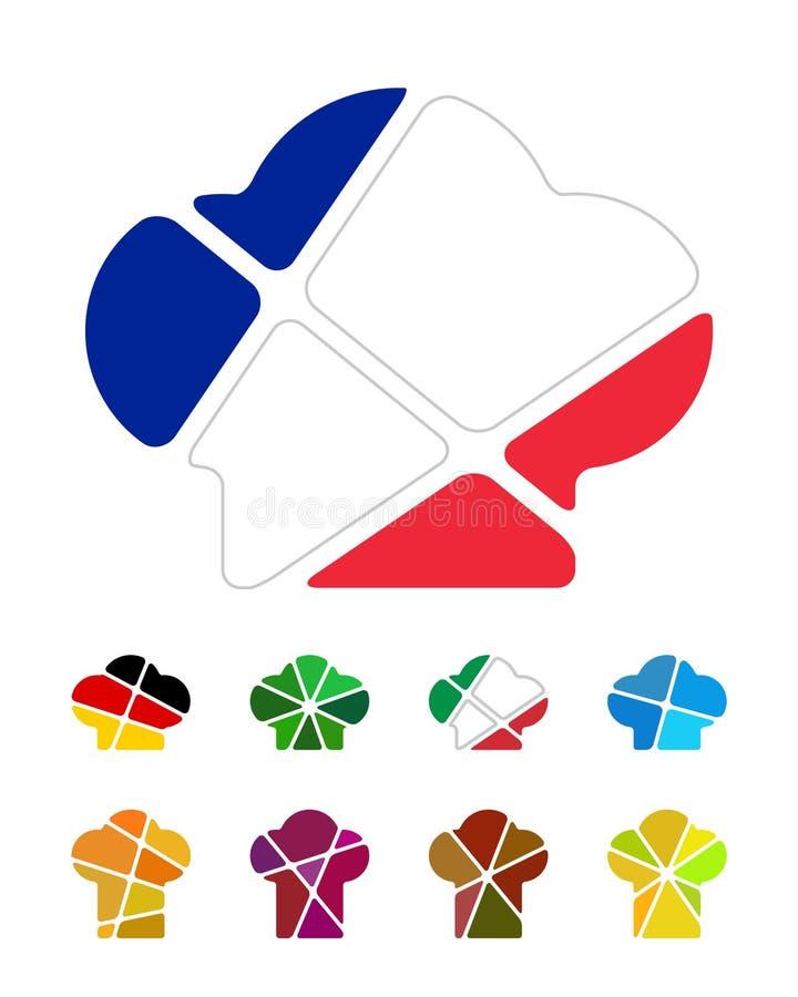 Elemento di logo del cappello del cuoco unico di progettazione royalty illustrazione gratis