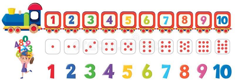 Elemento di numero dei dadi di per la matematica illustrazione vettoriale