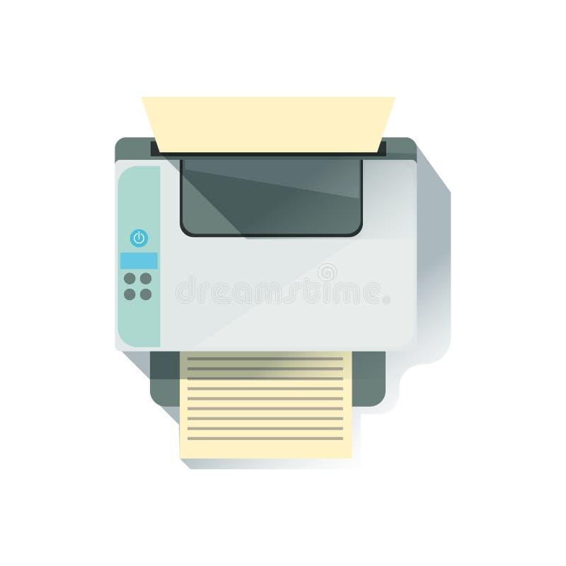 Elemento di Office Worker Desk della stampante a laser, parte degli strumenti del posto di lavoro e raccolta stazionaria degli og illustrazione di stock