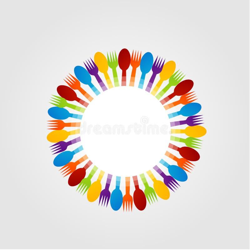 Elemento di progettazione con i cucchiai e la forchetta illustrazione vettoriale
