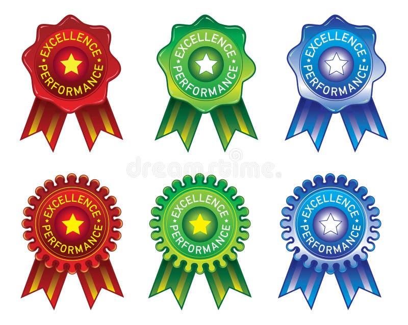 Elemento di progettazione del nastro & del bollo per il premio di prestazione di eccellenza in verde & blu rossi illustrazione vettoriale