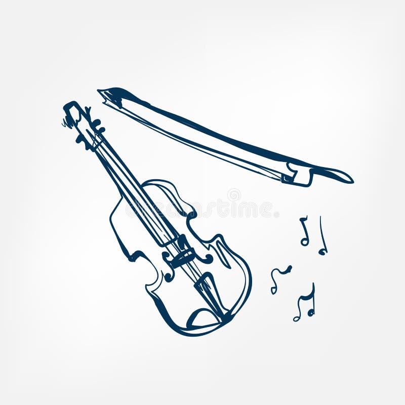 Elemento di progettazione isolato illustrazione di vettore di schizzo del violino illustrazione vettoriale