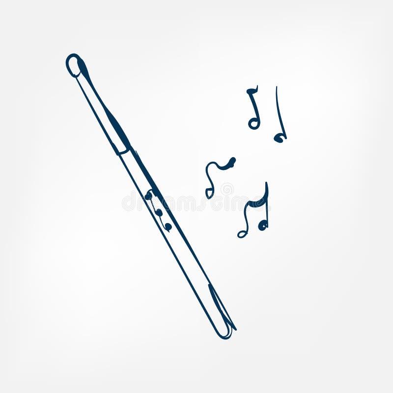 Elemento di progettazione isolato illustrazione di vettore di schizzo della flauto illustrazione di stock