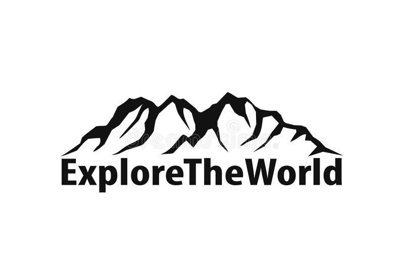 Elemento di progettazione di logo della siluetta di simbolo della catena montuosa nel nero illustrazione di stock