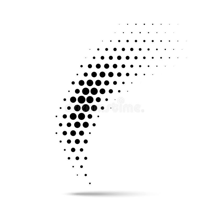 Elemento di semitono di progettazione dei punti del cerchio Emblema di vettore facendo uso di struttura di semitono royalty illustrazione gratis