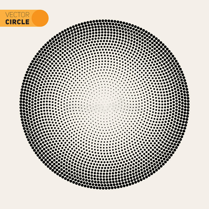Elemento di semitono di progettazione del modello di Fibonacci di vettore del cerchio in bianco e nero di spirale illustrazione vettoriale