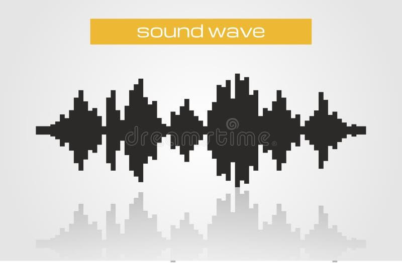 Elemento di semitono di progettazione di musica moderna dell'onda sonora illustrazione di stock