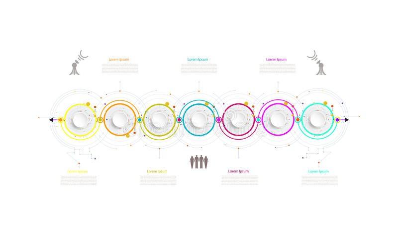 Elemento di tecnologia di cronologia del modello di affari di Infographic con 3 royalty illustrazione gratis