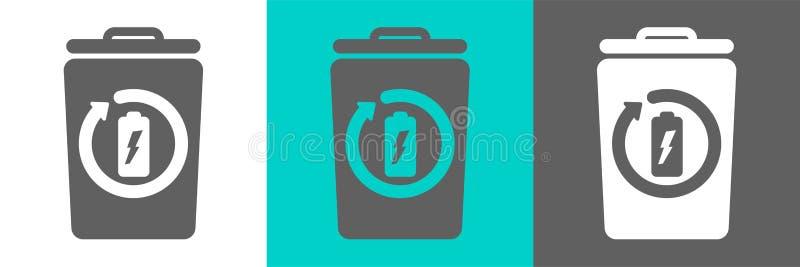 Elemento di vettore del bidone della spazzatura con l'icona del profilo della batteria illustrazione vettoriale