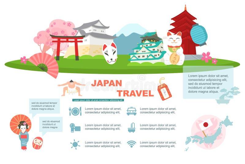 Elemento di viaggio del Giappone illustrazione vettoriale
