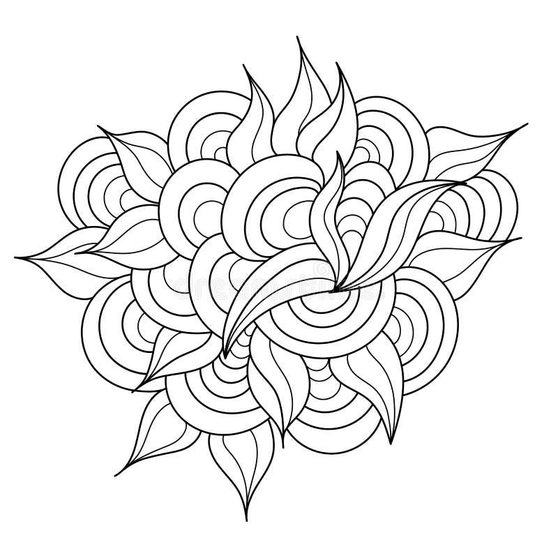 Elemento dibujado mano del zentangle Modelo blanco y negro del garabato stock de ilustración
