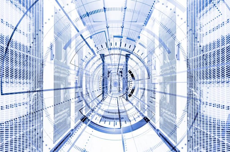 Elemento digital de la ronda tecnológica abstracta del fondo Papel pintado interactivo del ciberespacio futurista del hardware Di fotos de archivo