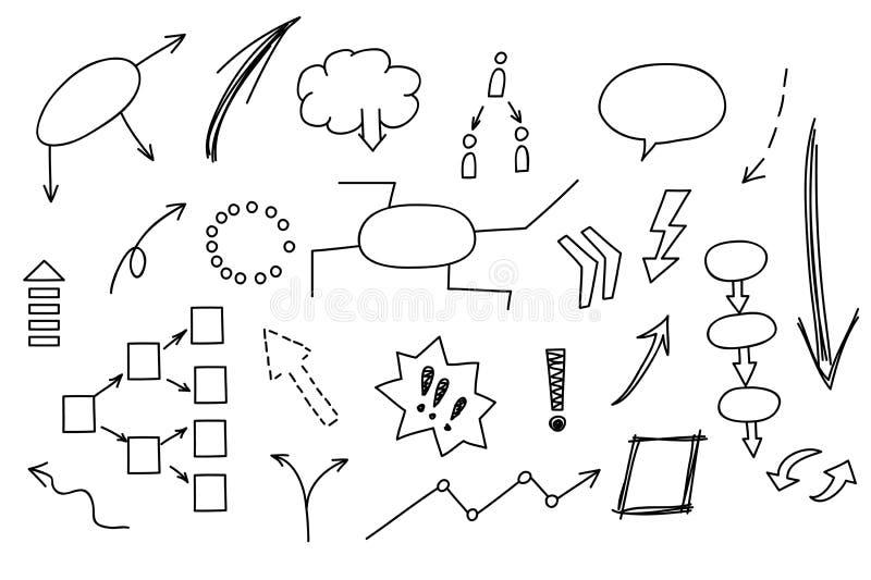 Elemento disegnato a mano di scarabocchio: grafico, grafico, diagramma Guadagni di analisi dei dati di affari e di finanza di con illustrazione vettoriale